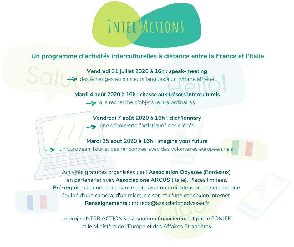interactions activités interculturelles meeting européen italie france bordeaux association odyssée arcus fonjep isi meae bordeaux